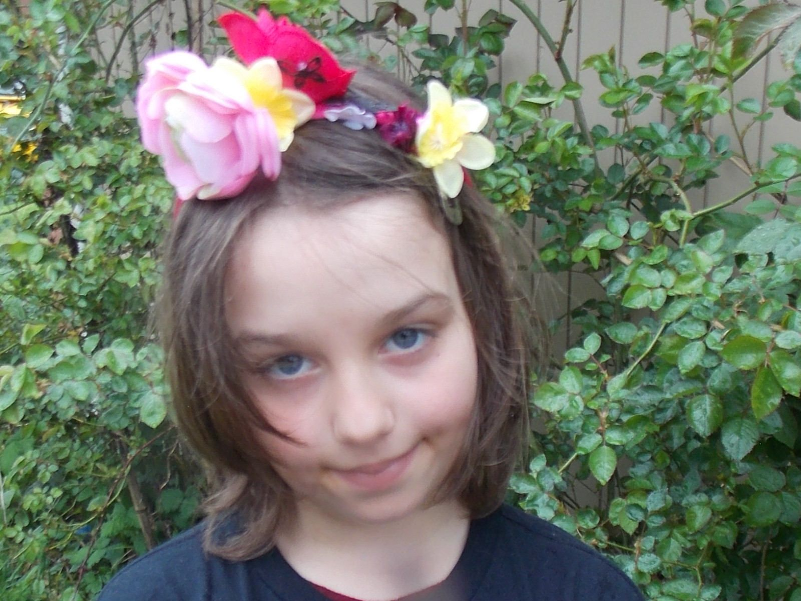 Flower Crown With Black Butterflies Deep Pink Headband With Pink