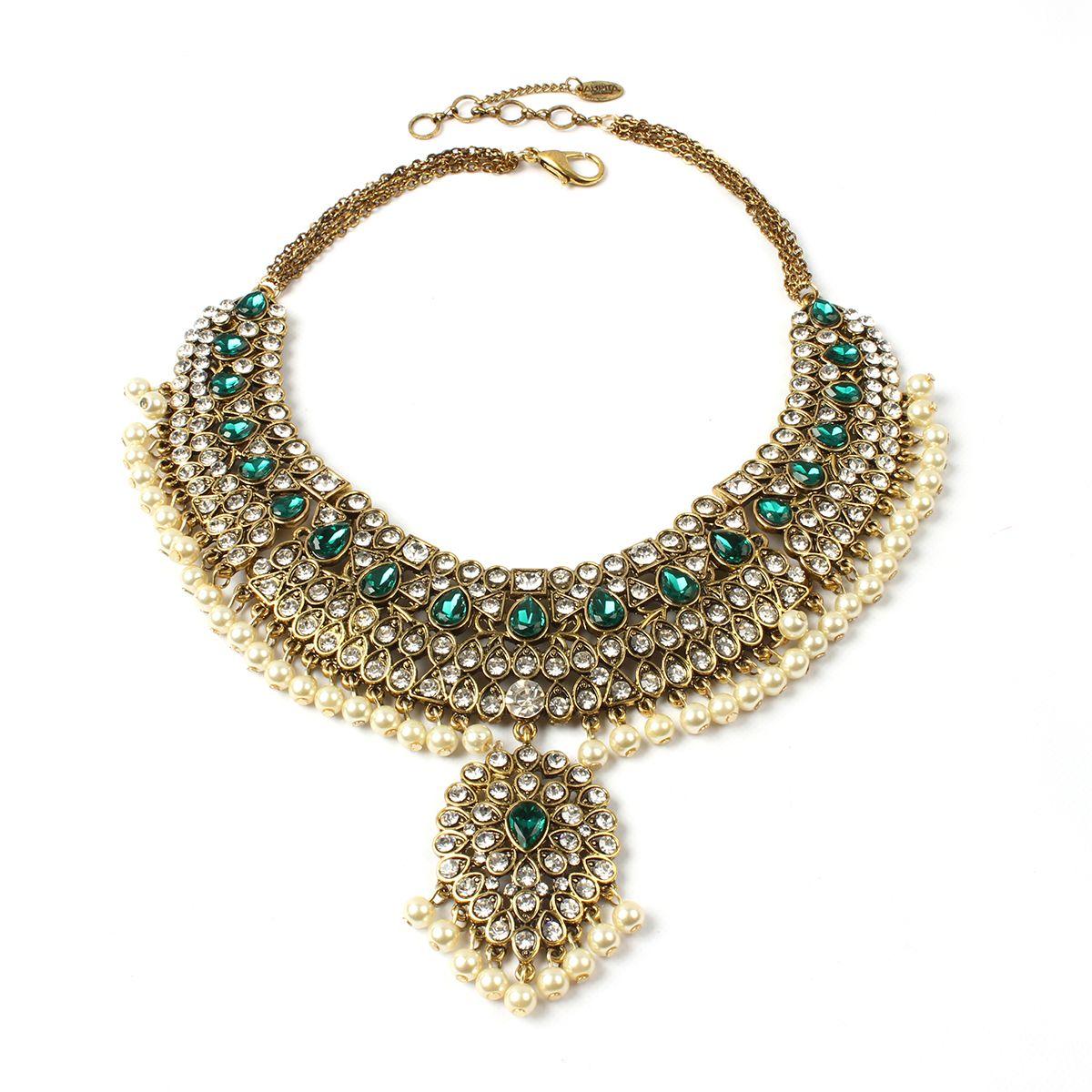 Heena necklace amrita singh austrian crystal and antique gold