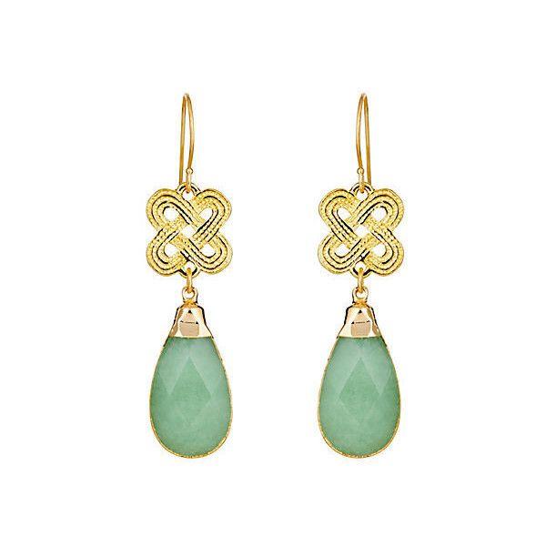 Green Jade Teardrop on Knot Earrings Drops Earrings (105 NZD) ❤ liked on Polyvore featuring jewelry, earrings, green earrings, green drop earrings, 18k earrings, green jade jewelry and drop earrings