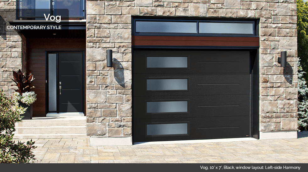 Vog 10 X 7 Black Window Layout Left Side Harmony Contemporary Garage Doors Modern Garage Doors Garage Doors