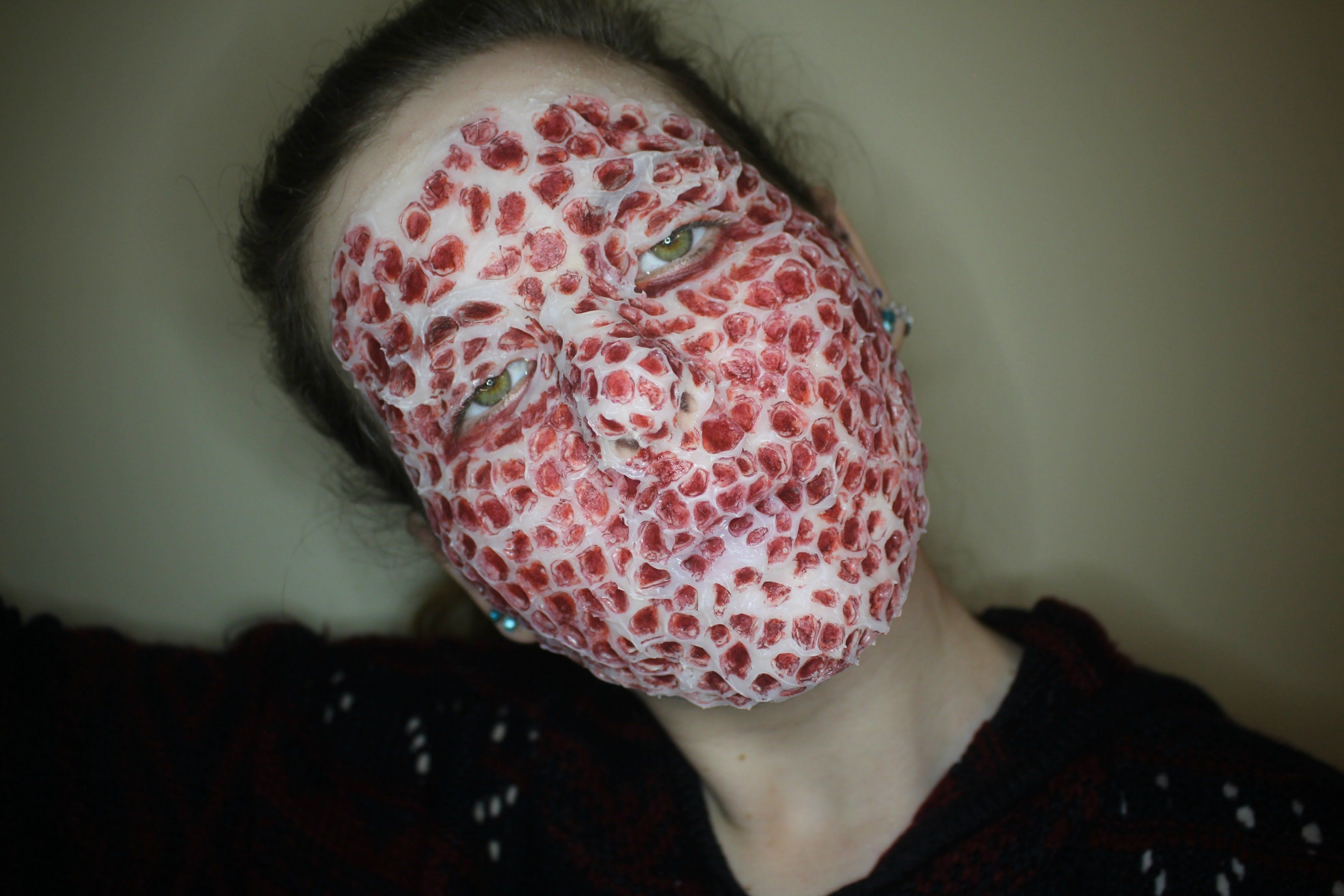 trypophobia sfx makeup tutorial graphic grin and dagger phobiasspecial effectsmakeup tutorialshalloween costumes - Phobia Halloween