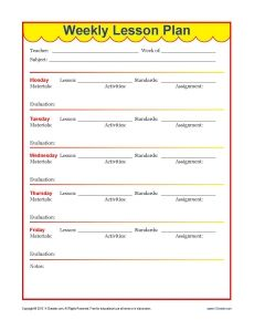 weekly detailed lesson plan template elementary education