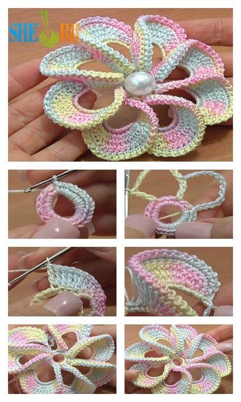3D Spiral 8-Petal Crochet Flower Trim Around Video Tutorial ...