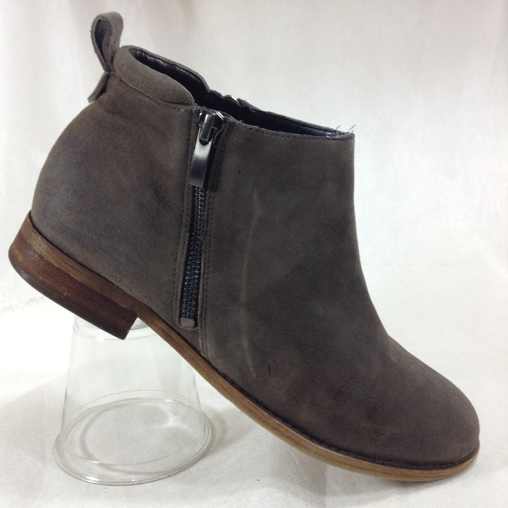 0cf4eac671b Franco Sarto Ankle Boots 8.5 Gray Suede Leather Double Zipper Pull Tab  Keegan  FrancoSarto  AnkleBoots  WeartoWork