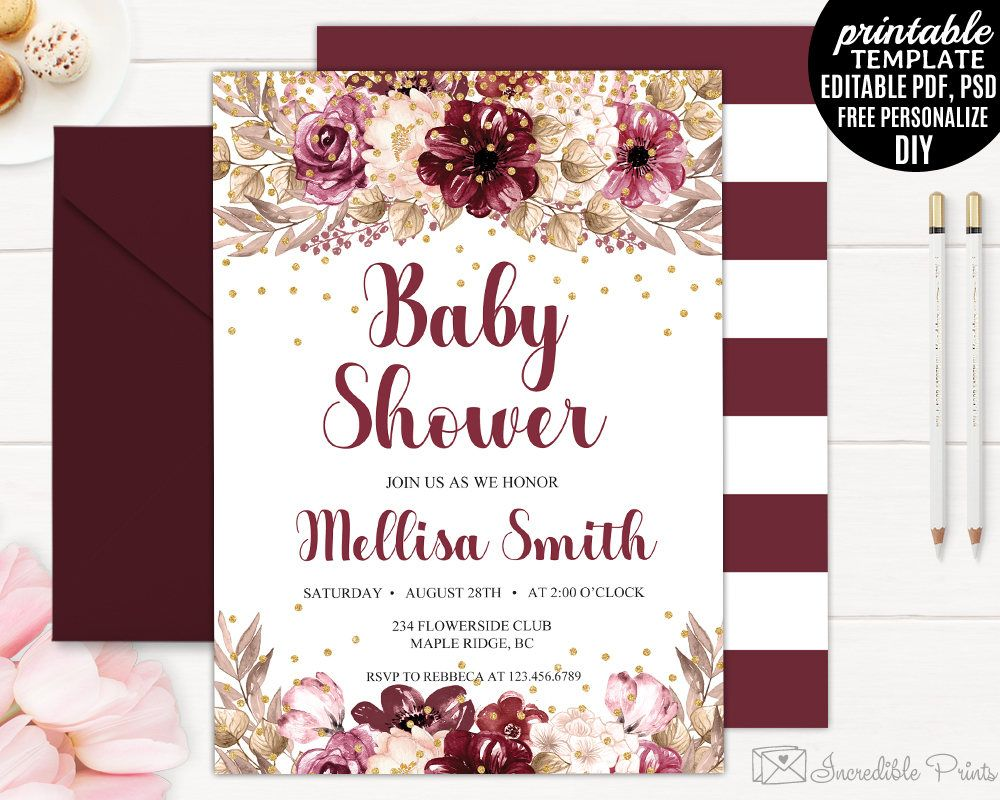 Burgundy Baby Shower Invitation Pink Floral Oh Baby Invite Bs21
