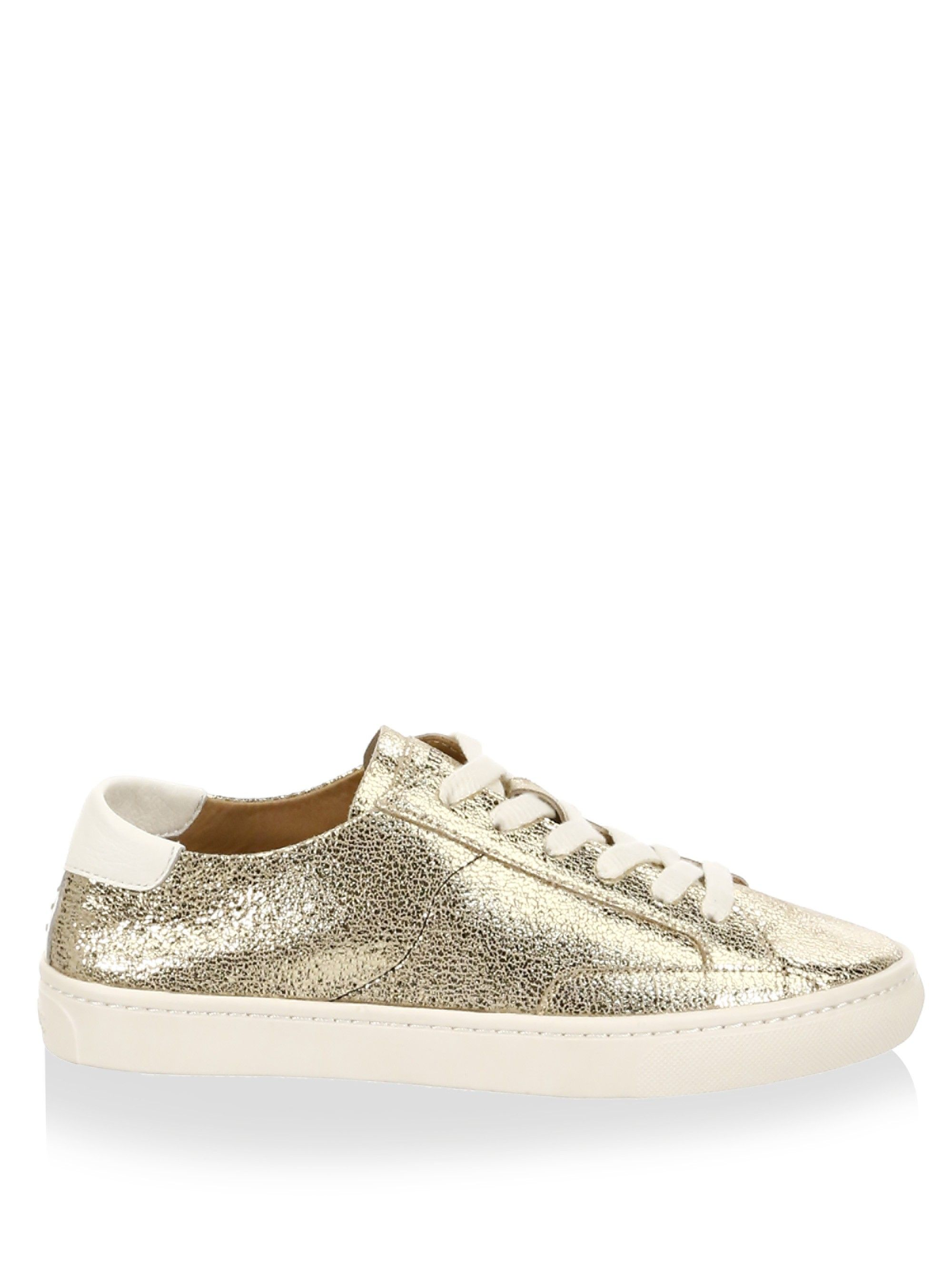 Soludos Metallic Lace-Up Leather Sneakers lsXcwQ