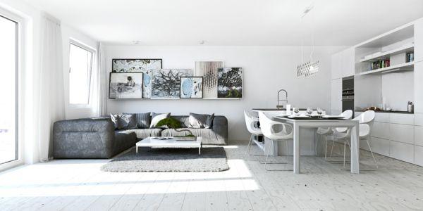 Offener Wohnplan Küche Wohnzimmer Bilder Holzboden | Interieur | Pinterest  | Weiße Farben, Offener Wohnplan Und Innendesign