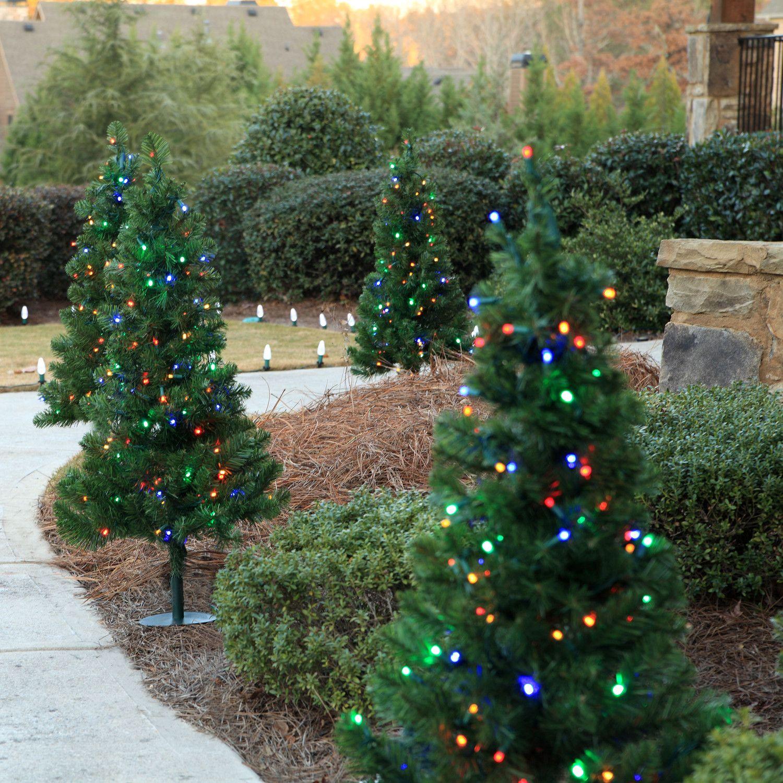 3' Walkway Pre-Lit Winchester Fir Tree, 100 Multicolored Lamps ...
