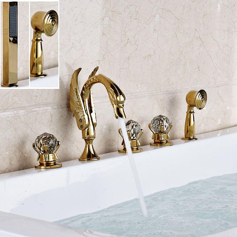 Deck Mounted 5 PCS Widespread Golden Brass Swan Bathroom Tub Faucet ...