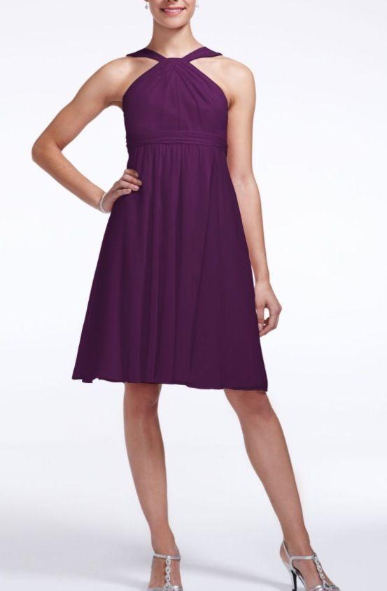 Short Crinkle Chiffon Y Neck Dress Style F15600 David S Bridal Purple Ombre Wedding