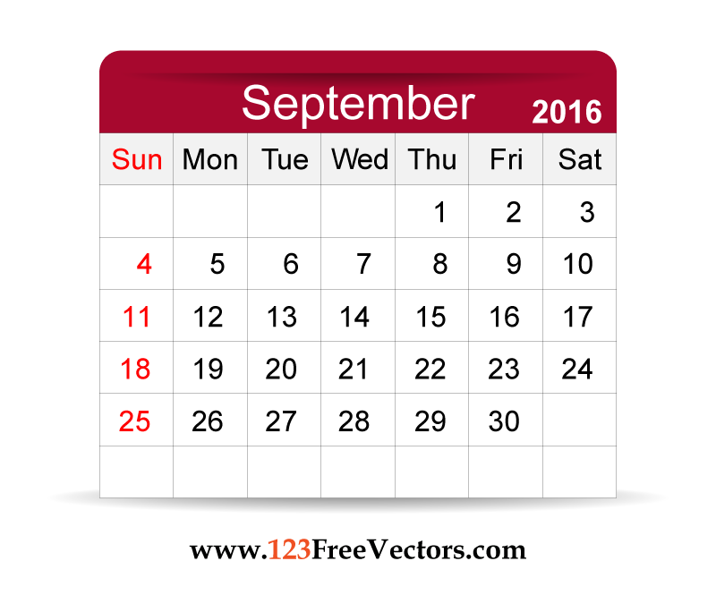 Download Free Vector 2016 Calendar September Printable Template ...