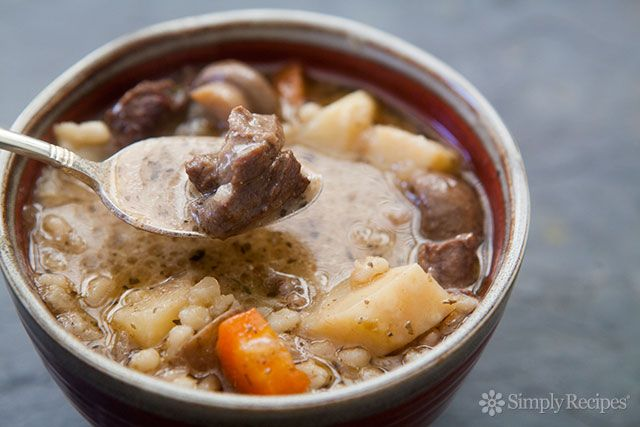 Beef and Barley Stew with Mushrooms ~ A hearty beef and barley stew with mushrooms and root vegetables. ~ SimplyRecipes.com