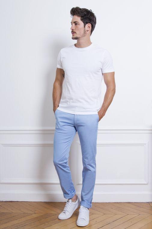 Pantalon chino bleu pastel | Tenue mariage