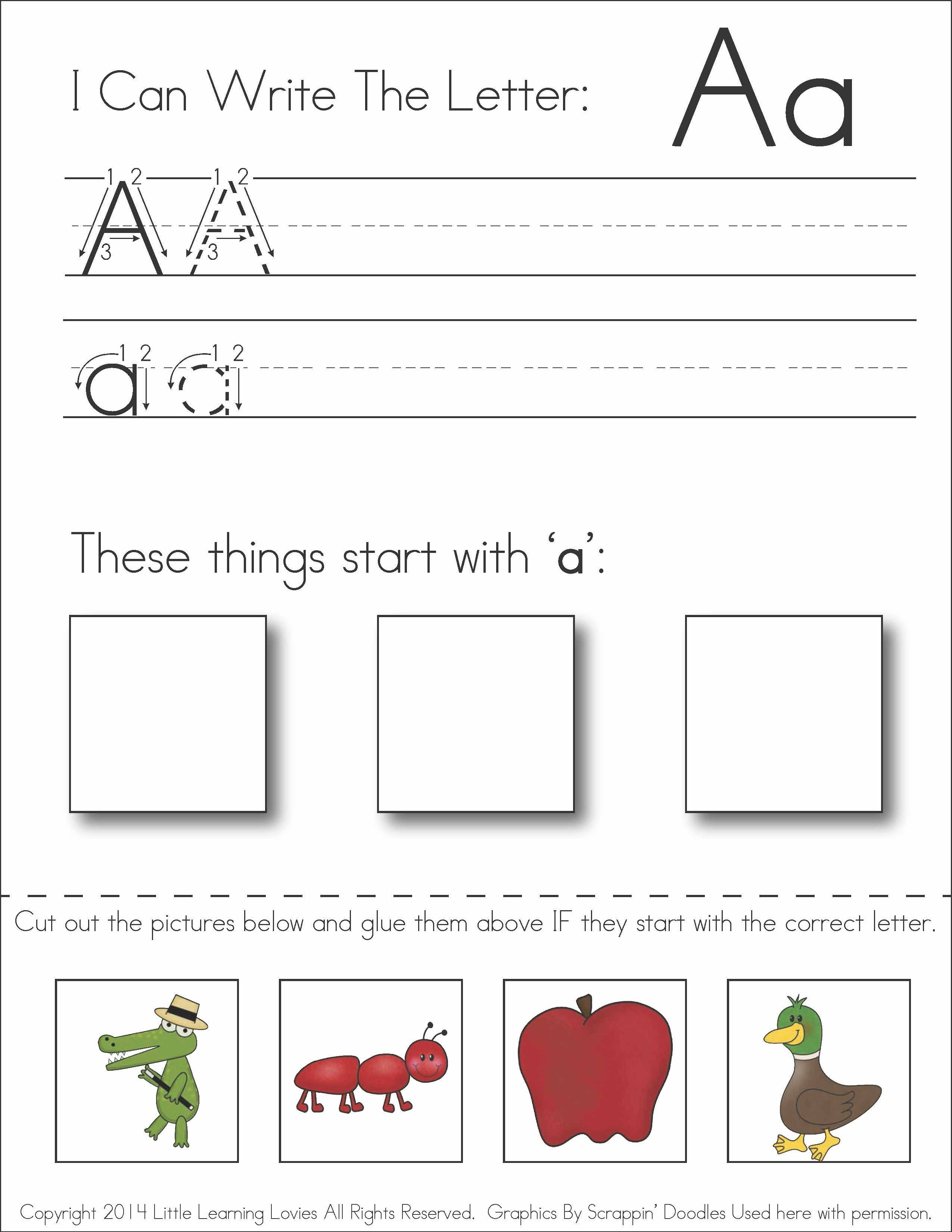 Worksheets Cut And Paste Alphabet Worksheets subscriber exclusive freebie letter a write cut paste fun free worksheet has kids writing and practicing recognizing the sound at beginning of words also fine motor ski