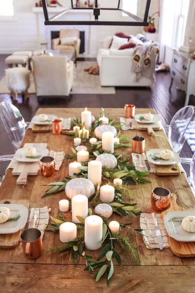 Fall Tablescape Fall Tablescape Fall Tablescape A mix of bay leaves, olive branc…