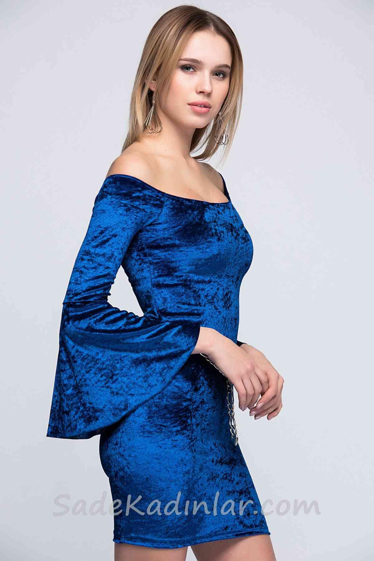40c067ba3cfeb Abiye Saks Mavi Kadife Elbise Kısa Omuzları Açık Kolları İspanyol in ...