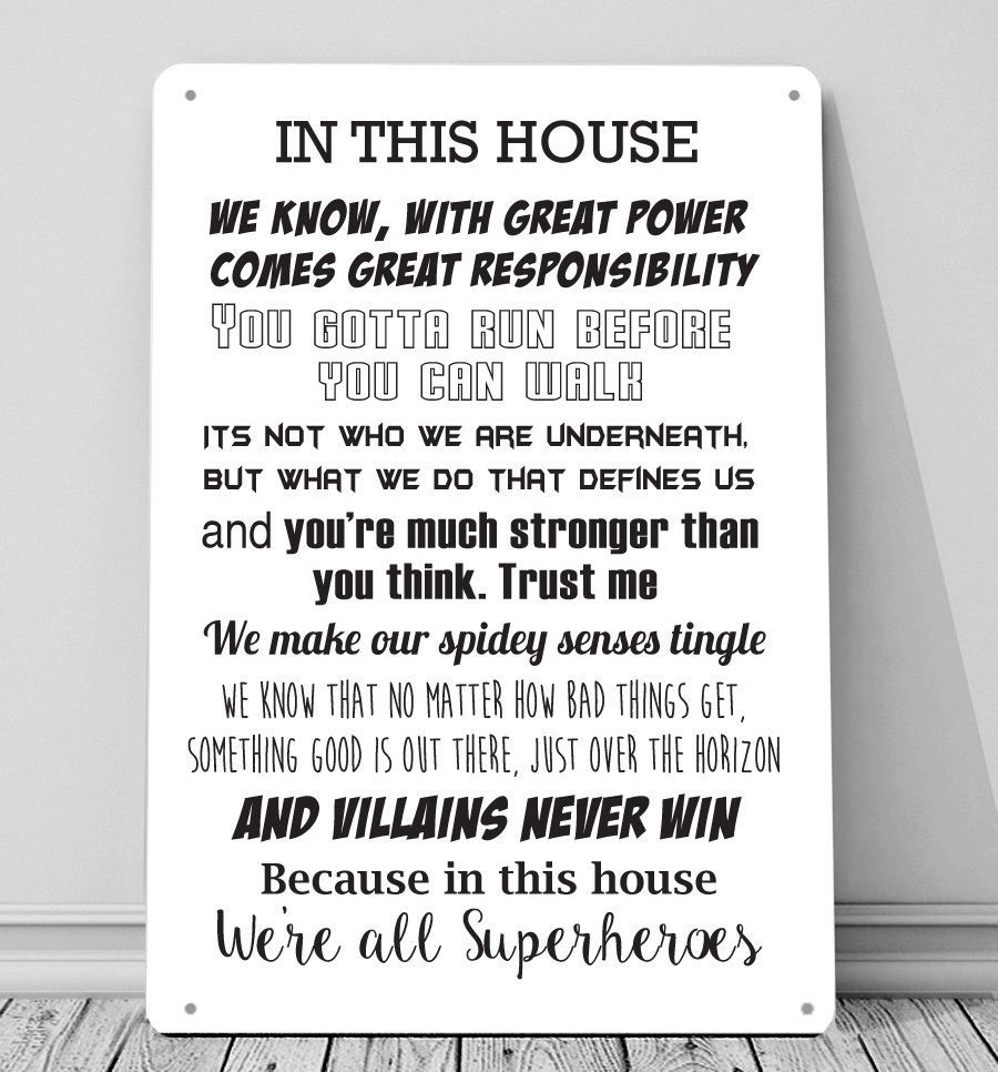 Details about in this house were all superheroes batman quotes metal sign wall art plaque