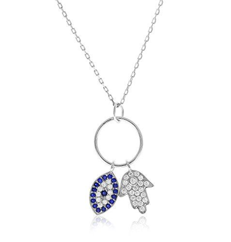 Sterling Silver Cubic Zirconia Evil Eye And Hamsa Necklace with Adjustable Length 1618 Natural Silver ** You can find out more details at the link of the image.