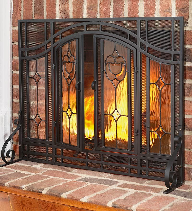 Small Two Door Floral Fireplace Screen With Beveled Glass Panels And