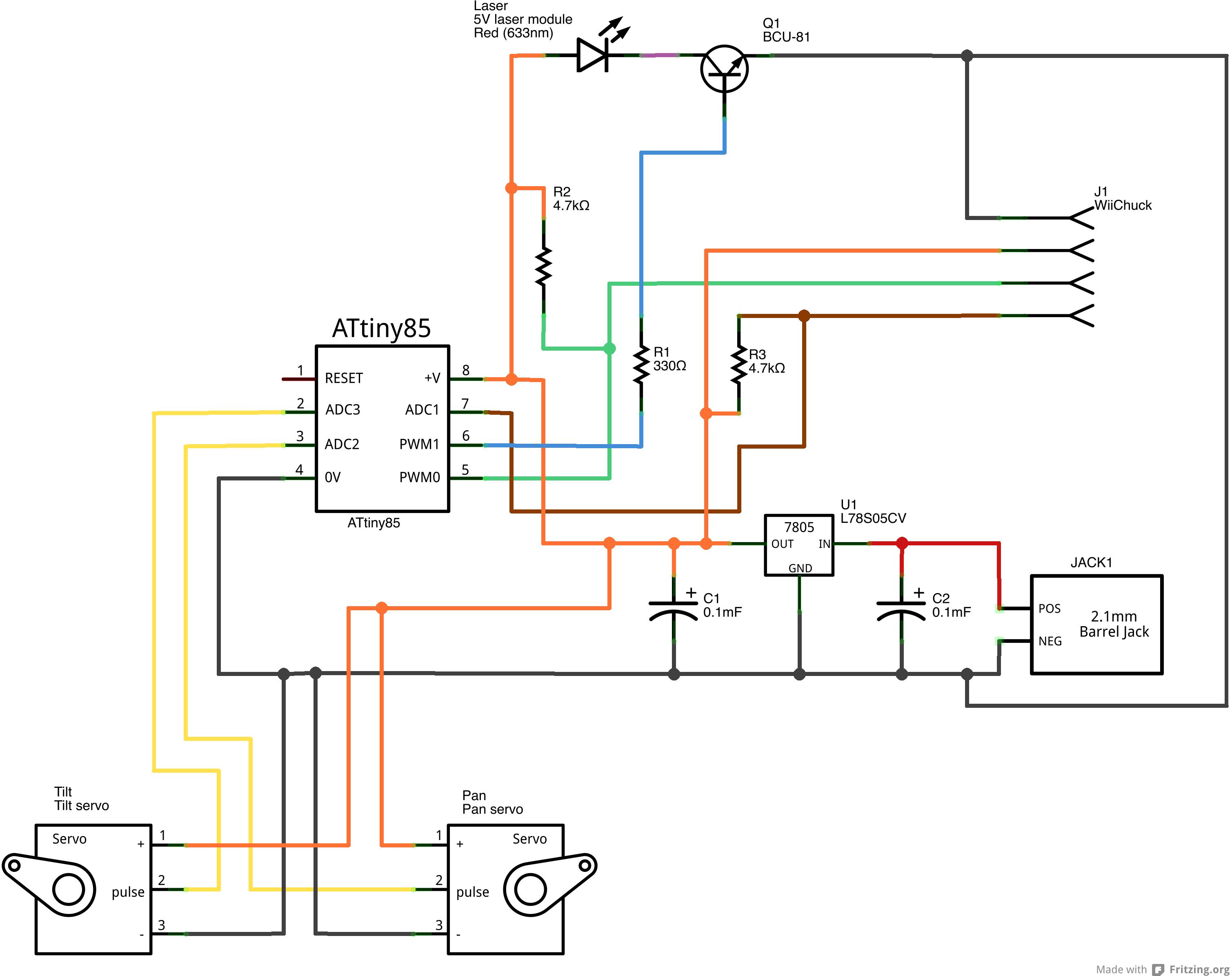 tinylaserturret an attiny85 a laser module a wii nunchuck and some servo motors [ 3018 x 2391 Pixel ]