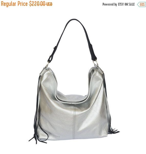 SALE 20% OFF Lulu bag , silver leather hobo bag - Free shipping ...