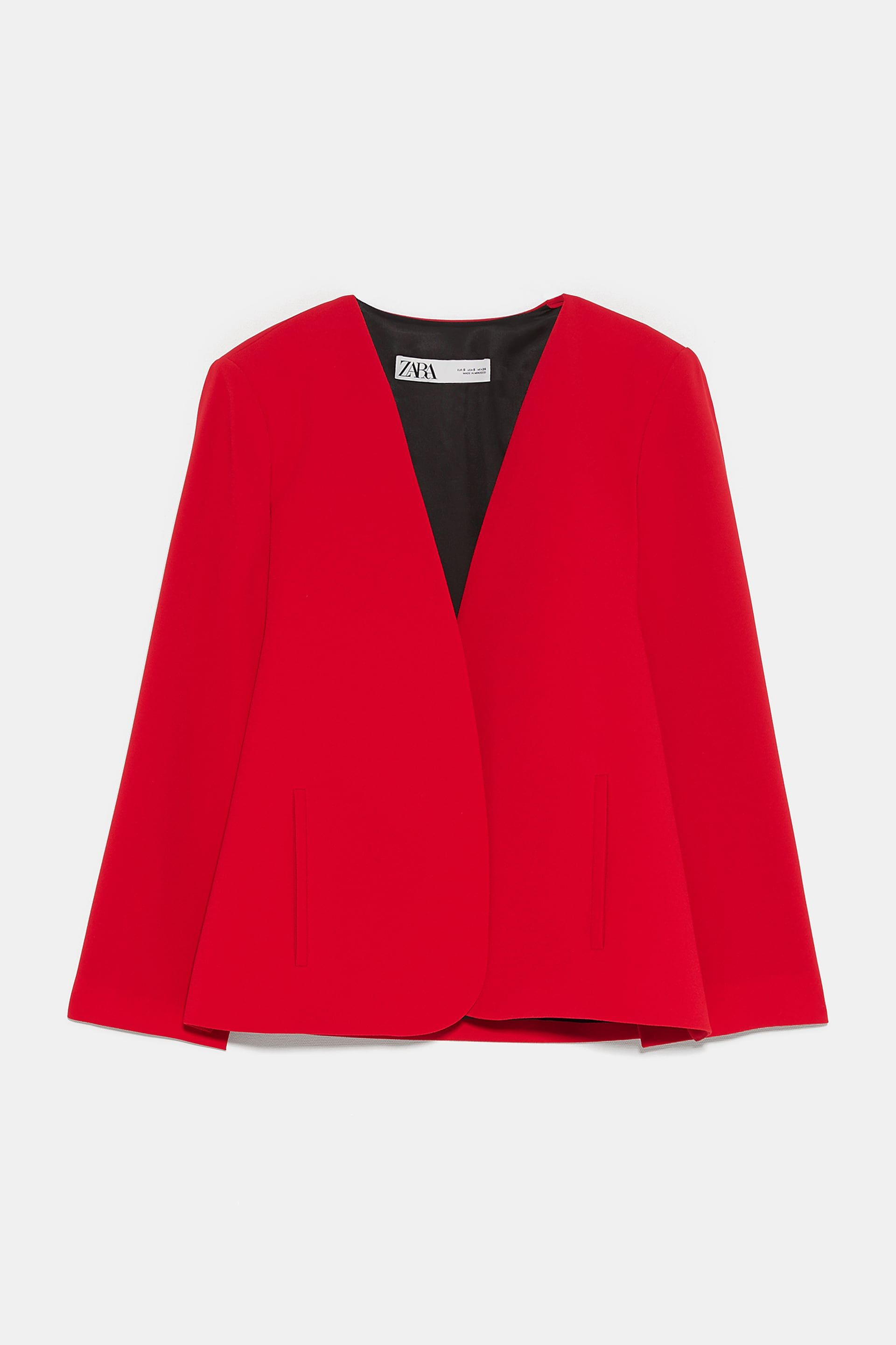 ZARA Red Hooded Cape Cardigan with Black Stripe Size Large