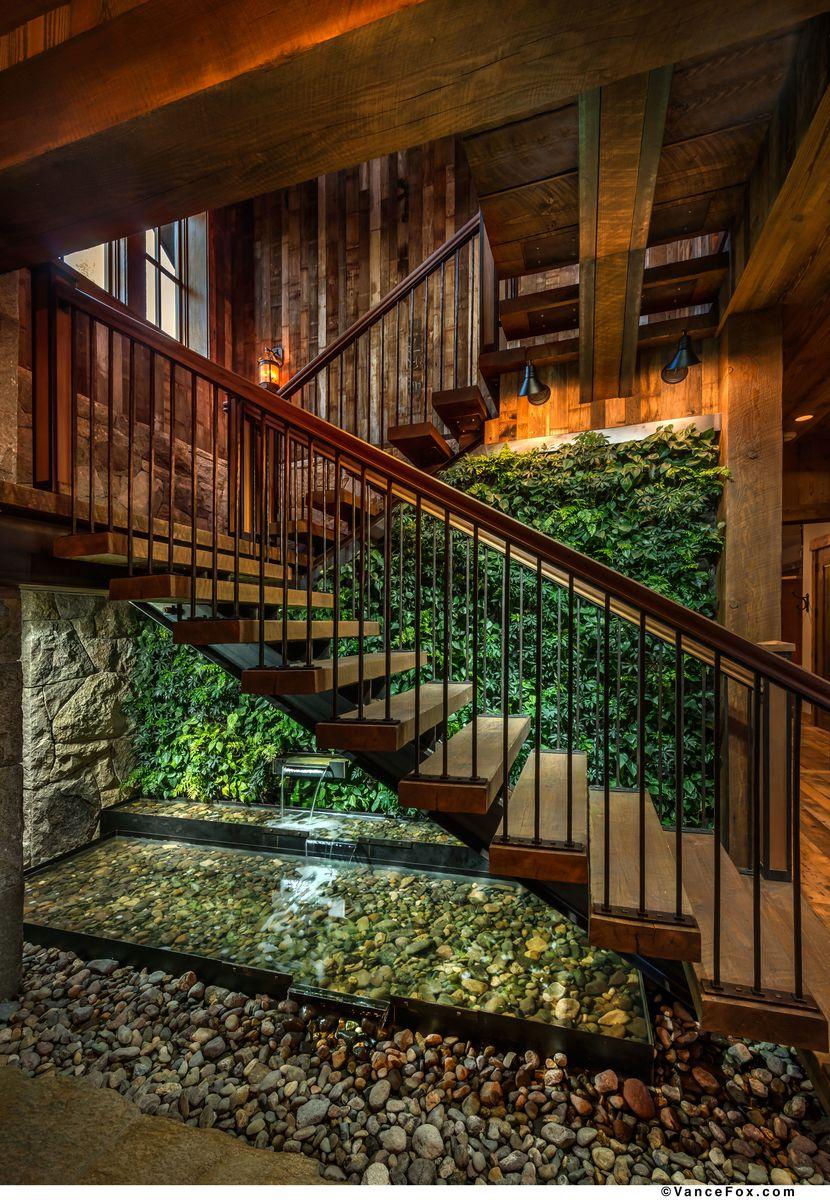 Living Wall Fountain Green Wall Vertical Garden Rustic Staircase