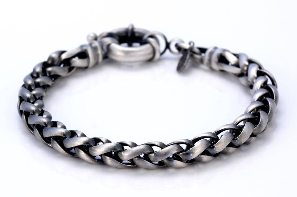 """BICO Pacific Australia Jewelry Pewter 8"""" or 9"""" Silver Plated Bracelet FB68 Matte #Bicopacific #Chain"""