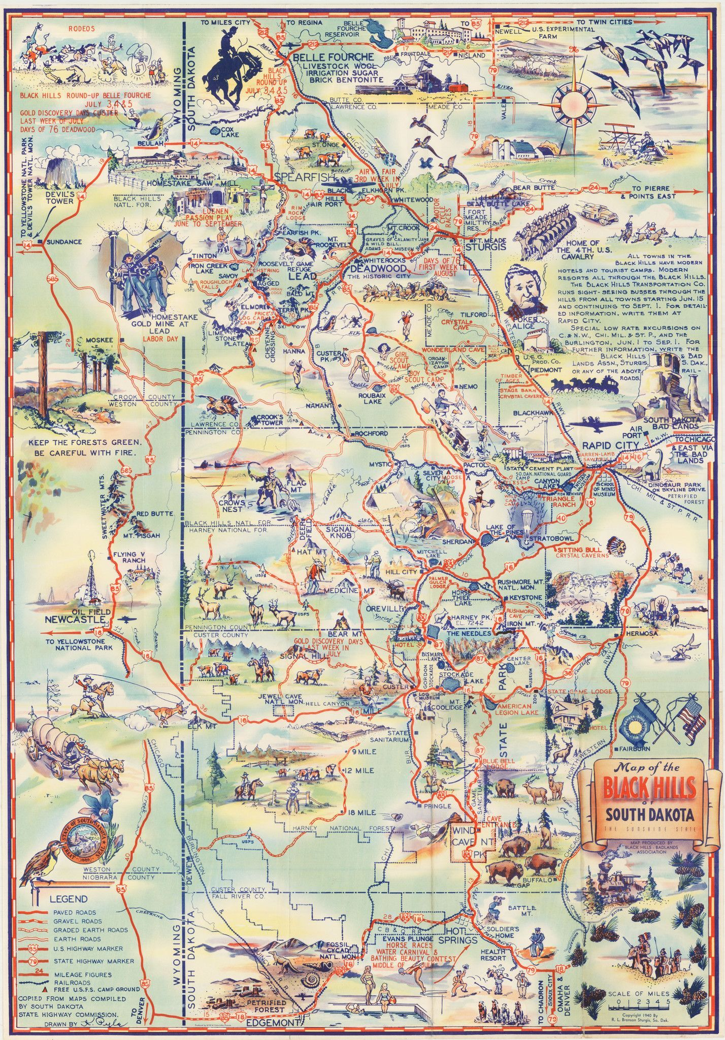 Map Of The Black Hills Of South Dakota The Sunshine State - Map of sd