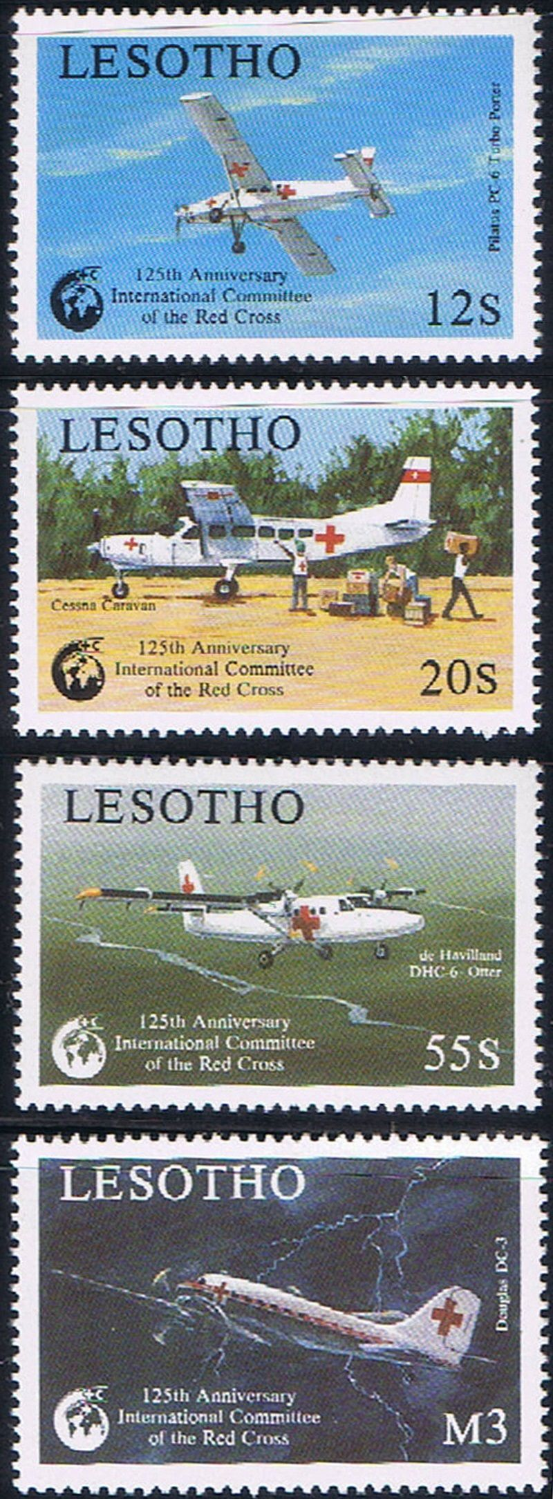 Lesotho issued these stamps to commemorate the 125th anniversary of the International Red Cross. The stamps featured the anniversary emblem, supply and ambulance planes. SC 695-98.