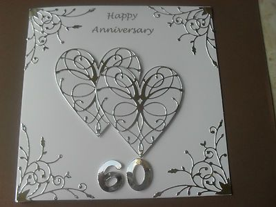 Handmade Diamond Wedding Anniversary Card 60th Wedding Anniver