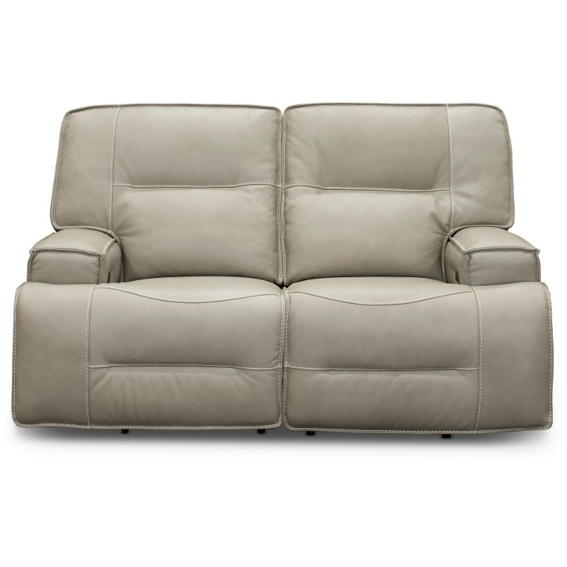 Dove Beige Leather Match Power Reclining Loveseat Rockies Power Reclining Loveseat Power Recliners Reclining Sofa