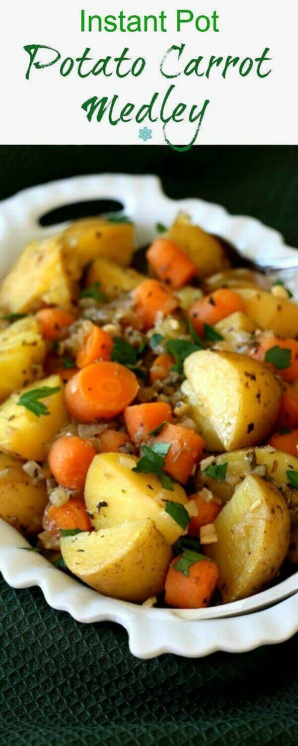 Instant Pot Potato Carrot Medley has flavor to spare and all in under 30 minutes. So simple you can have your favorite vegetables anytime you want. via @VeganFreezer
