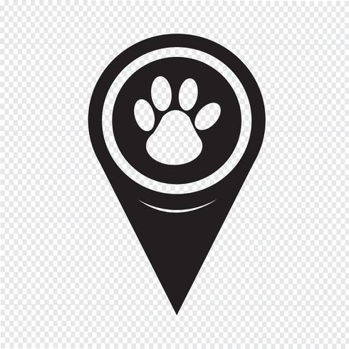 Map Pointer paw print icon Paw print, Free vector