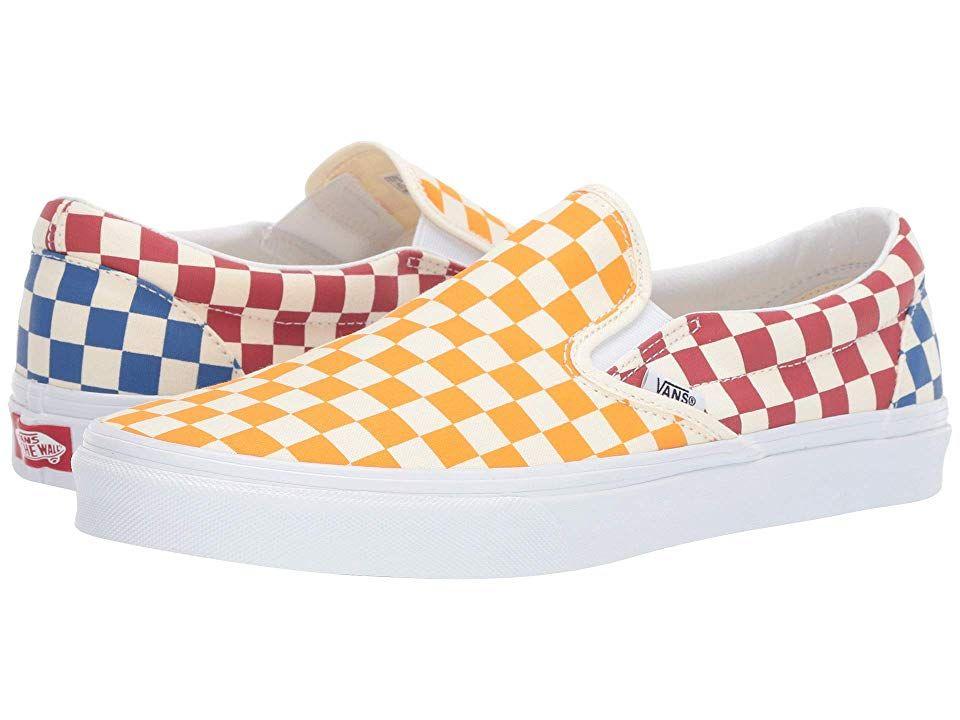 Vans Classic Slip Ontm Skate Shoes Checkerboard Multi True White Custom Vans Shoes Leather Shoes Woman