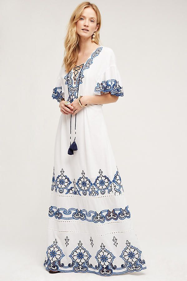 f9d78015998c9 Anthropologie Tryb Milagros Maxi Dress Medium embroidered cotton white blue  New #Anthropologie #Maxi
