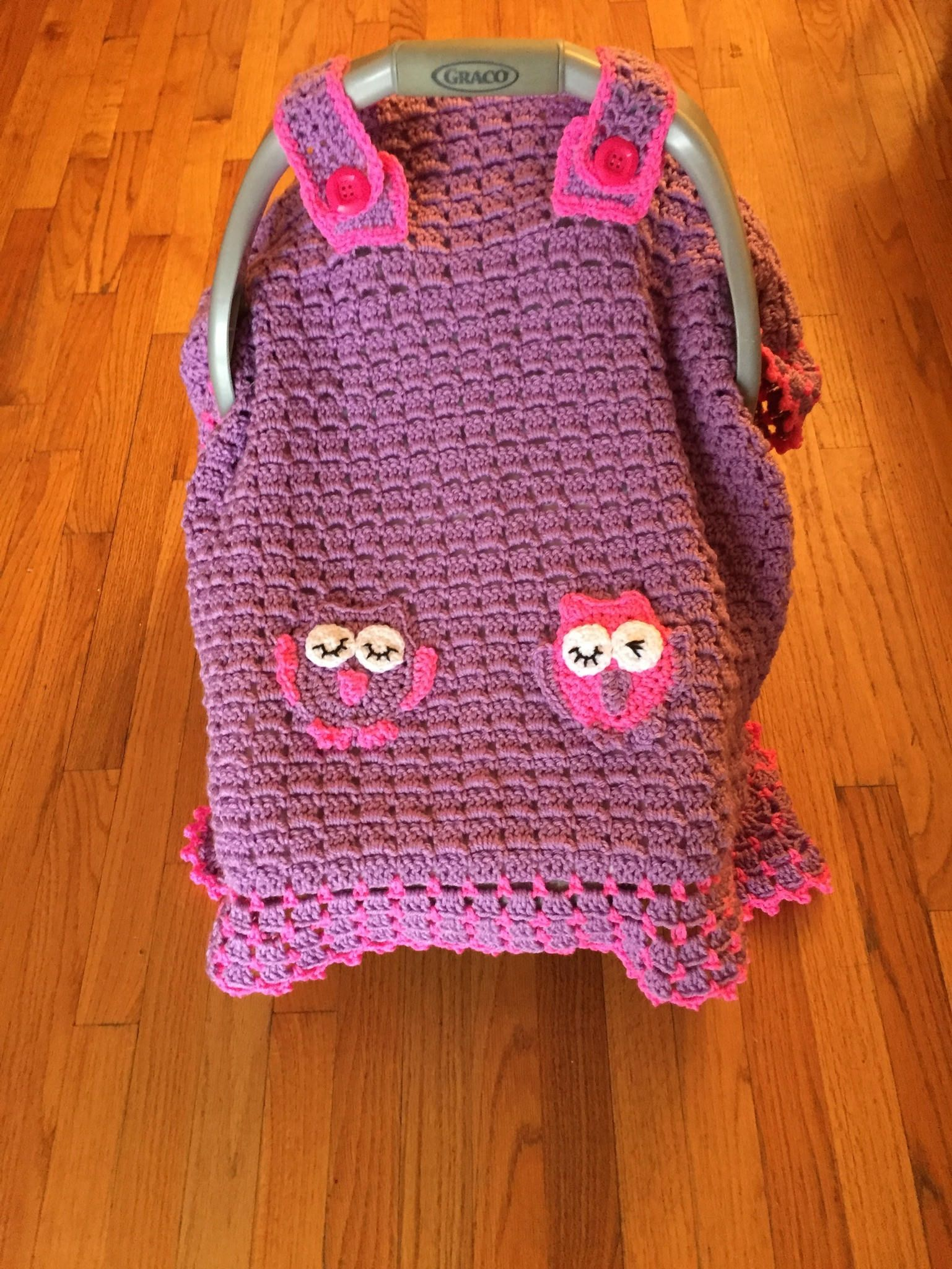 Baby Owl Afghan, Car Seat Canopy Crochet Blanket, Lavender and Hot ...