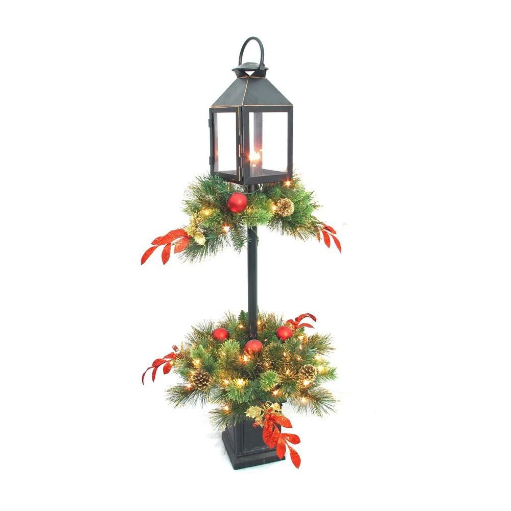 Home Accents Holiday 4 ft. Artificial Lantern Porch Tree with 70 ...