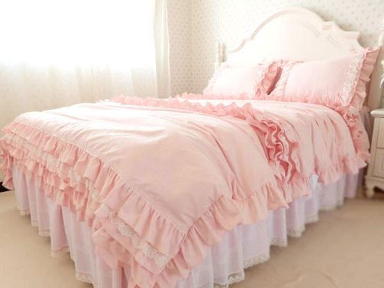 Pink Cotton Queen King Twin Pink Ruffled Laced by QueenAndCastle