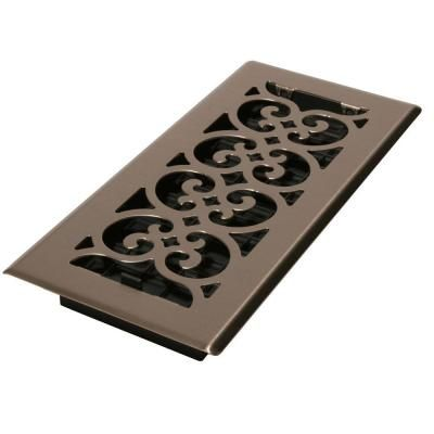 Decor Grates 2 1 4 In X 14 In Brushed Nickel Scroll Floor Register Floor Decor Metal Floor Wall Vent Covers