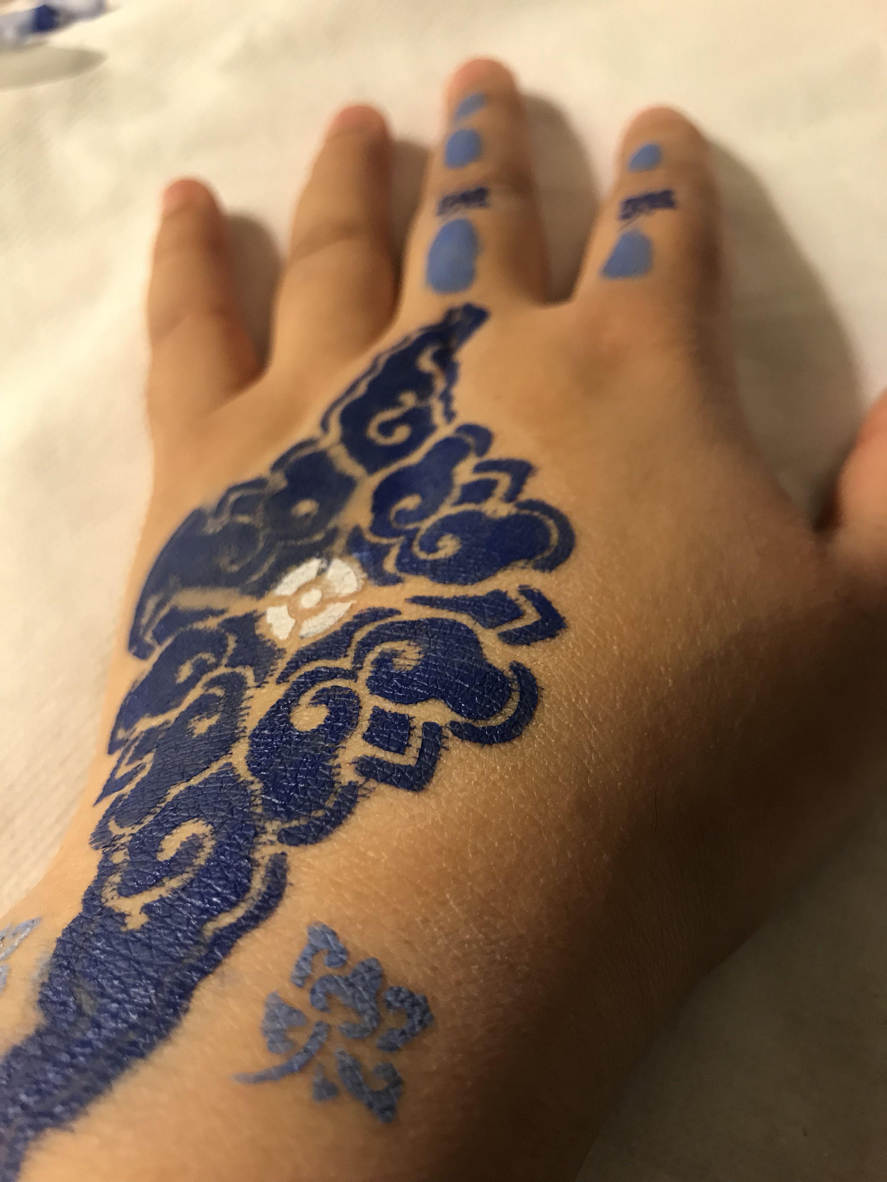 Body art blue temporary tattoo tattoos henna designs