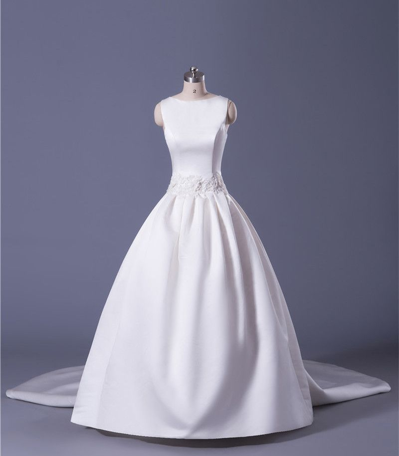 Soft Satin Ball Gown Wedding Dress With Detachable Train