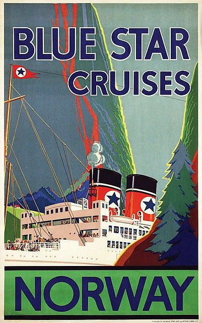 Poster by  Anonymous - Blue Star Cruises Norway - 64x101,5, 1924, pr. Arthur J. Owen Ltd., on linen by Anonymous