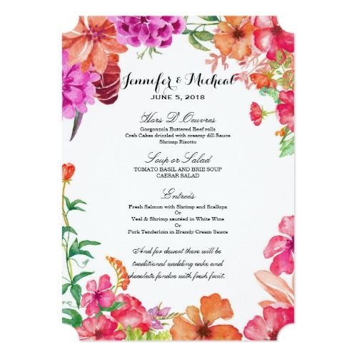 Pink orange watercolor garden wedding menu card pink blush wedding pink orange watercolor garden wedding menu card mightylinksfo Choice Image