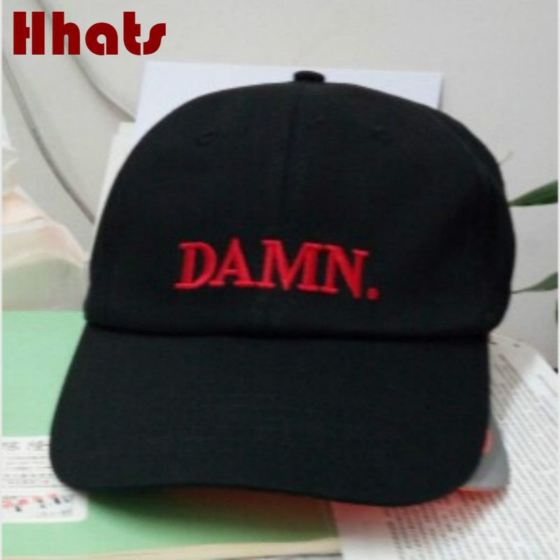 which in shower rapper black stitched DAMN dad hat adjustable embroidered  brand women men baseball cap hip hop male trucker bone 5e42b38529fb