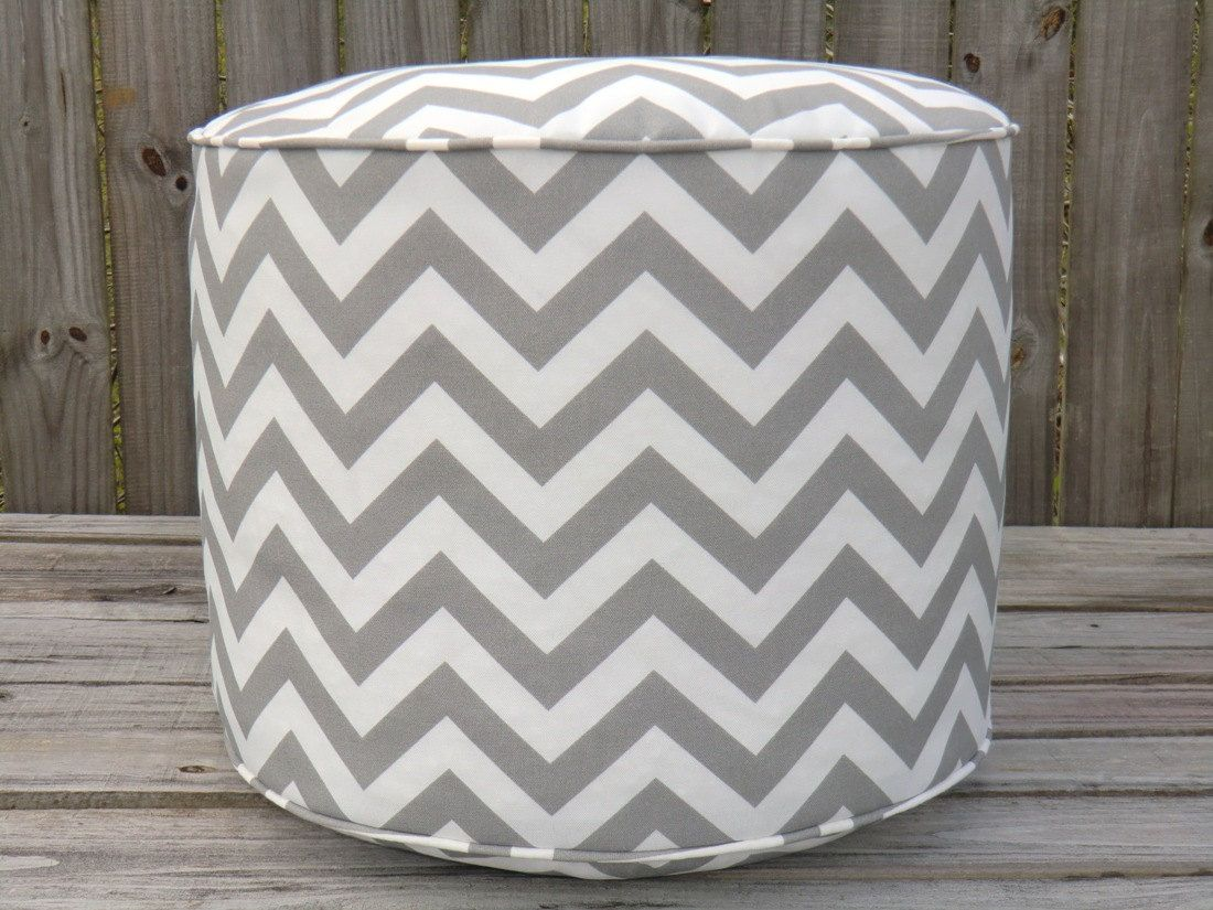 Gray Pouf Ottoman Chevron Floor Round Cushion In Zigzag Print Boy And Girl Nursery Room Decor Kids Play Table