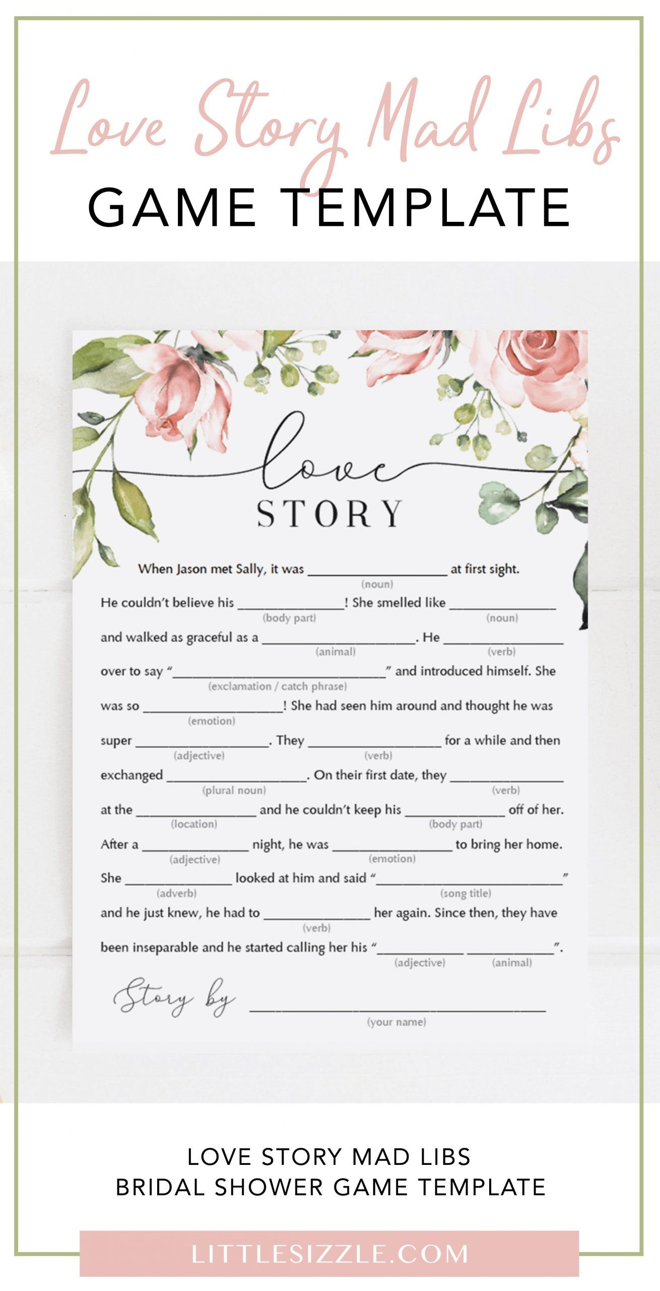 Funny Bridal Shower Mad Libs Love Story Game Template By