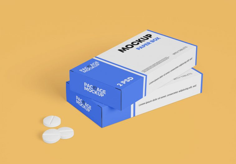 Download Free Medicine Tablet With Packaging Paper Box Mockup Set Free Package Mockups Box Mockup Paper Box Free Packaging Mockup