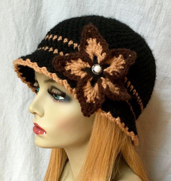 Negro sombrero marrón de Tan sombrero de mujer por JadeExpressions ...