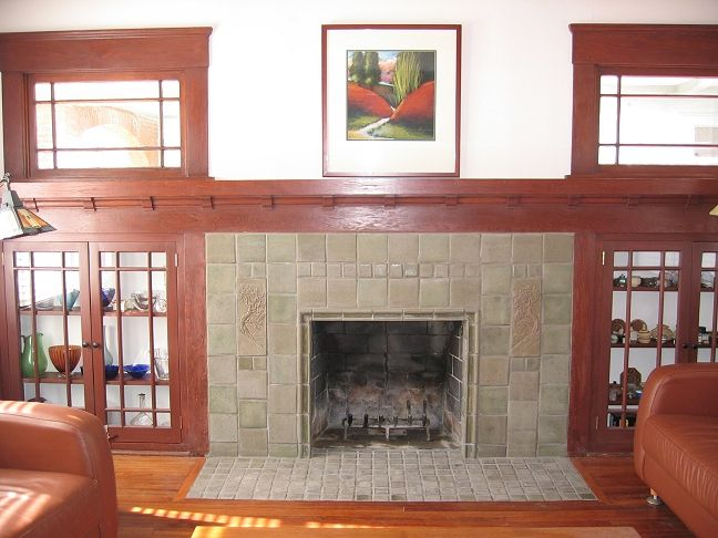 Fireplaces batchelder tile craftsman style craftsman for Craftsman fireplace designs